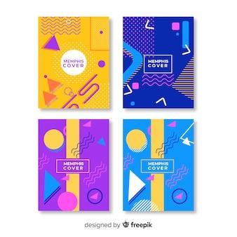 Coleção de capa de estilo memphis colorido