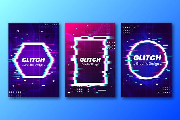 Coleção de capa de falha de design gráfico