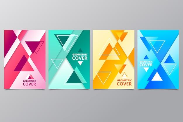Coleção de capa de formas geométricas coloridas
