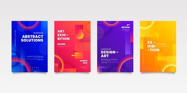 Coleção de capa de negócios abstratos com formas geométricas