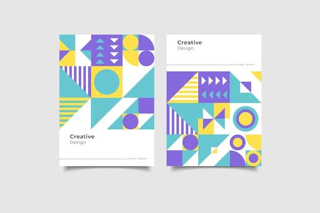Coleção de capa de negócios de formas geométricas