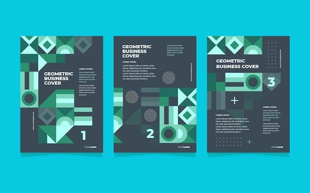 Coleção de capa de negócios geométrica colorida neon