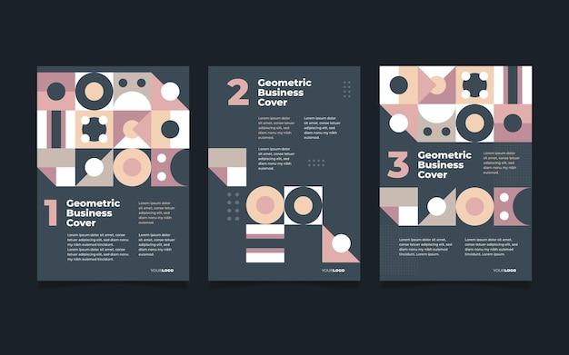Coleção de capa de negócios geométrica em tons pastel