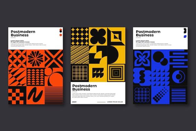 Coleção de capa de negócios pós-moderna monocromática