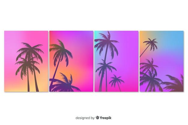 Coleção de capa de paisagem por do sol praia gradiente
