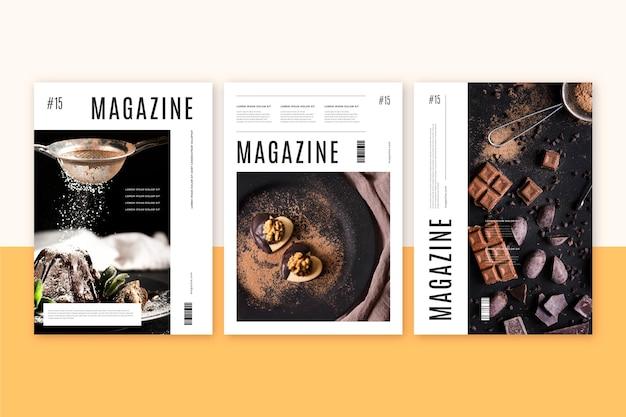 Coleção de capa de revista com foto de doces