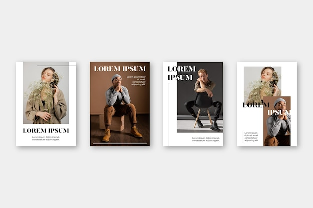 Coleção de capa de revista com foto Vetor grátis