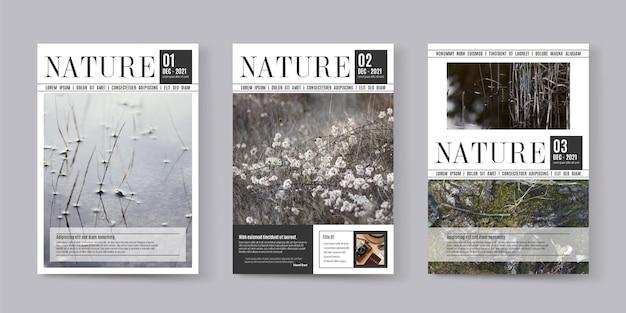 Coleção de capa de revista com foto