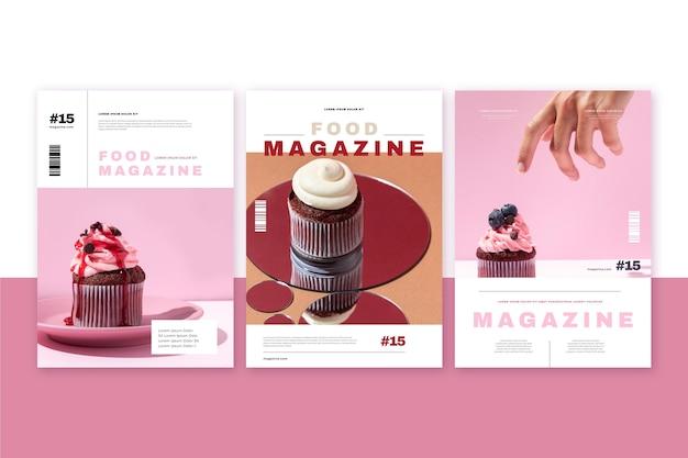 Coleção de capa de revista de comida com foto