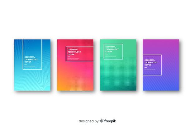 Coleção de capa de tecnologia plana colorida