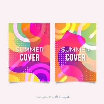 Coleção de capa de verão colorido ondulado