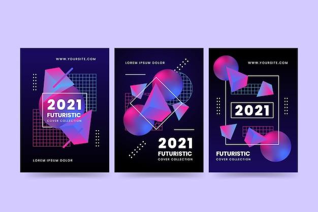 Coleção de capa futurística gradiente