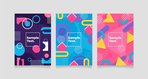 Coleção de capa geométrica abstrata colorida