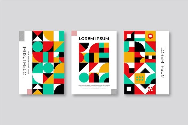 Coleção de capa geométrica abstrata de livro colorido