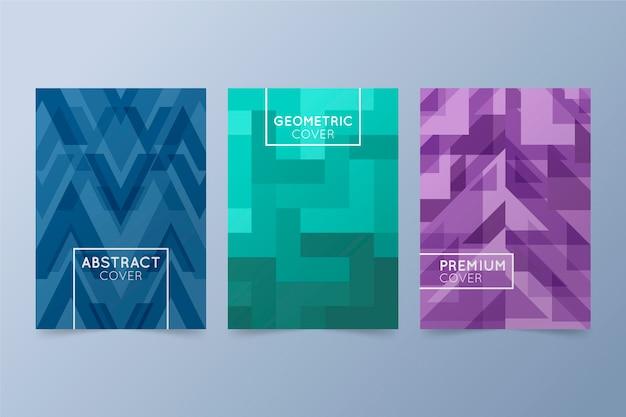 Coleção de capa geométrica de desenho abstrato