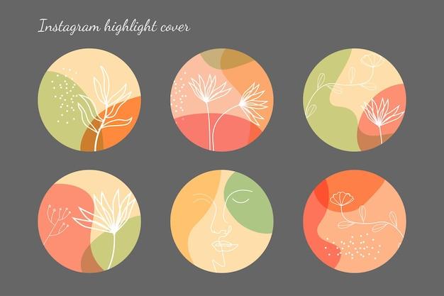 Coleção de capa instagram minimalista desenhada à mão