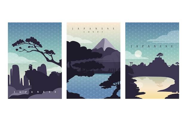 Coleção de capa japonesa simples