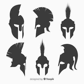 Coleção de capacete espartano de silhueta