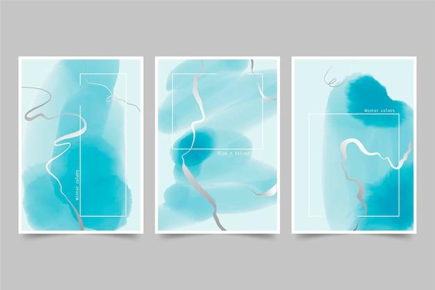 Coleção de capas aquarela azuis