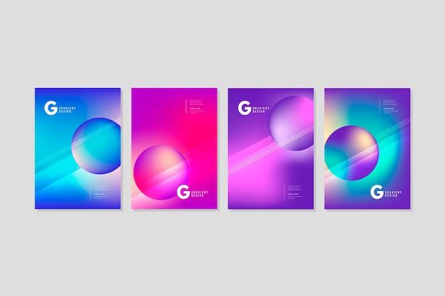 Coleção de capas coloridas abstratas com esferas
