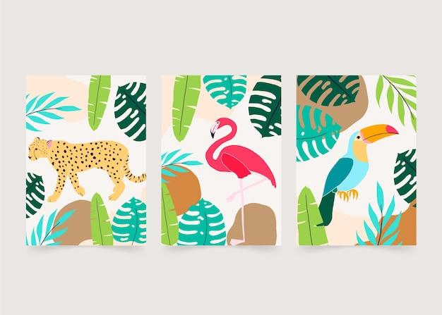 Coleção de capas de animais selvagens desenhados à mão