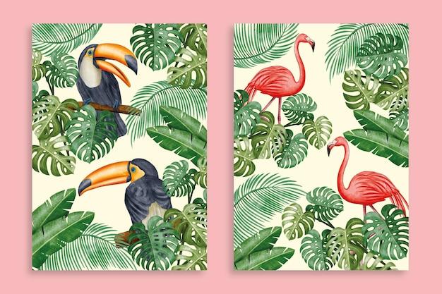 Coleção de capas de animais selvagens em aquarela pintada à mão