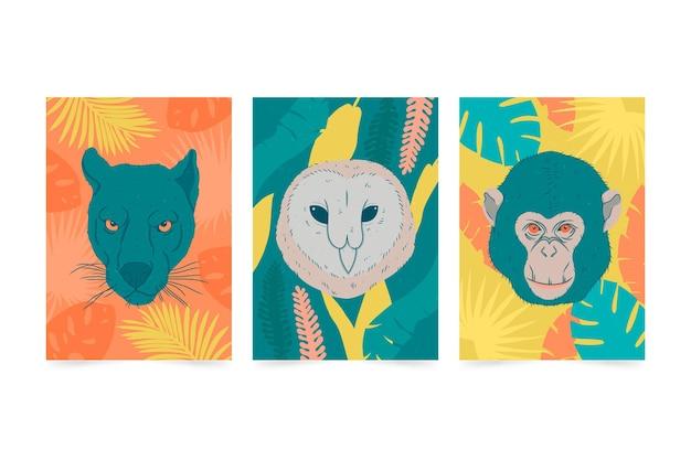 Coleção de capas de animais selvagens em estilo desenhado à mão