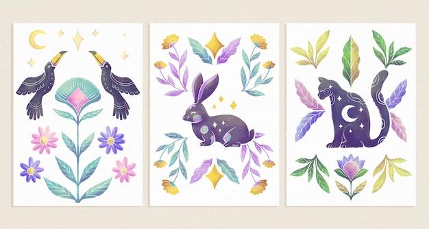 Coleção de capas de animais selvagens pintados à mão