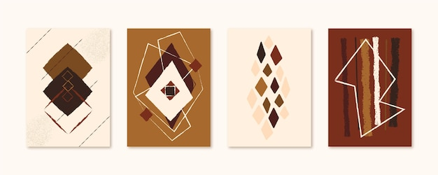 Coleção de capas de arte abstrata desenhada à mão