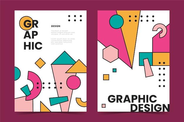 Coleção de capas de design gráfico