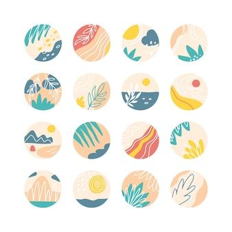 Coleção de capas de destaque de mídia social criativa, tema de viagens. histórias de design redondo ícone com coleção de elementos florais.