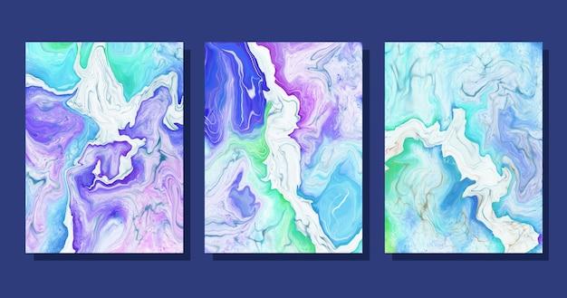 Coleção de capas de mármore líquido em aquarela pintada à mão