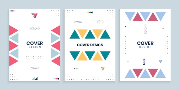 Coleção de capas de memphis com triângulos coloridos