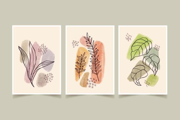 Coleção de capas desenhadas à mão em aquarela minimalista pintada à mão