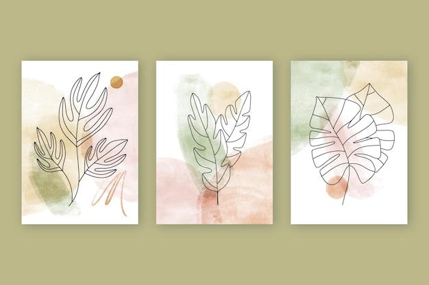 Coleção de capas desenhadas à mão em aquarela