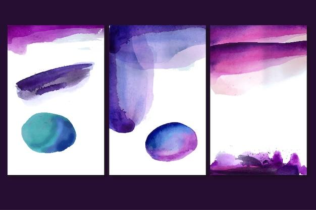 Coleção de capas em aquarela abstrata
