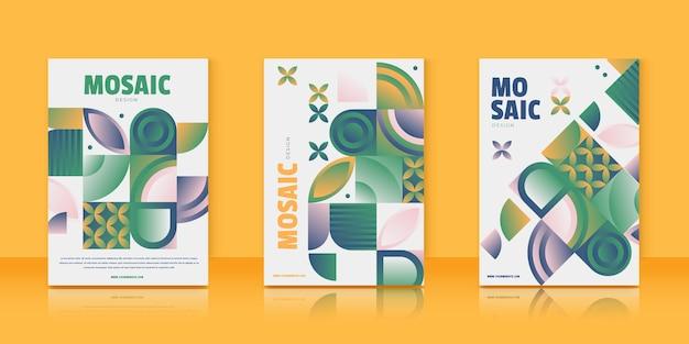 Coleção de capas em mosaico gradiente