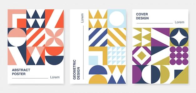 Coleção de capas geométricas abstratas.
