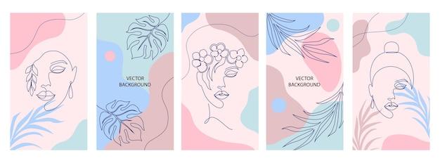 Coleção de capas para histórias de mídia social. conceito de beleza e moda.