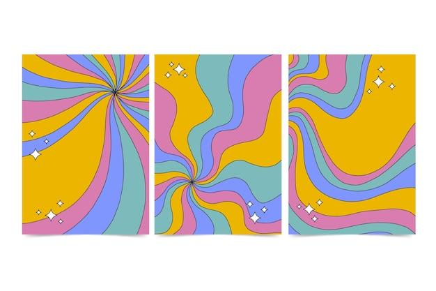 Coleção de capas psicodélicas descoladas desenhadas à mão