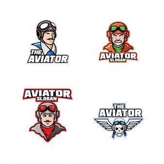 Coleção de capitão piloto aviador cabeça personagem logotipo ícone design dos desenhos animados