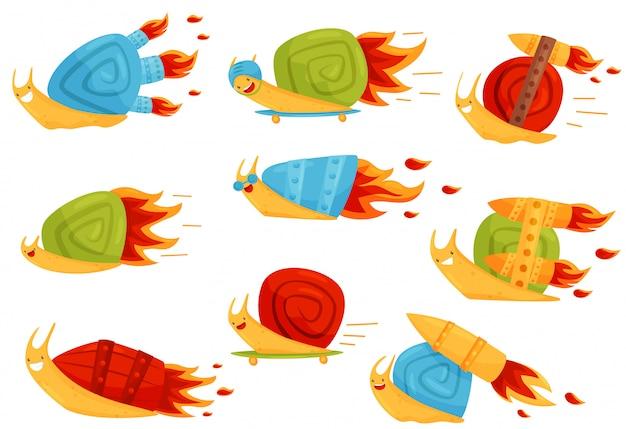 Coleção de caracóis engraçados com impulsionadores de velocidade turbo, personagens de desenhos animados de molusco rápido ilustração sobre um fundo branco