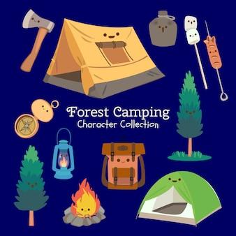 Coleção de caracteres de acampamento de floresta