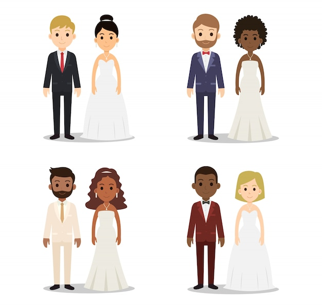 Coleção de caracteres de casal casamento