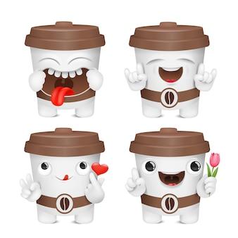Coleção de caracteres de emoji de desenho de xícara de café.