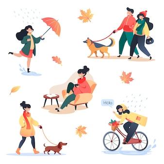 Coleção de caracteres de estilo simples em um dia quente de outono, outono ao ar livre, pessoas ativas no parque e conforto doméstico.