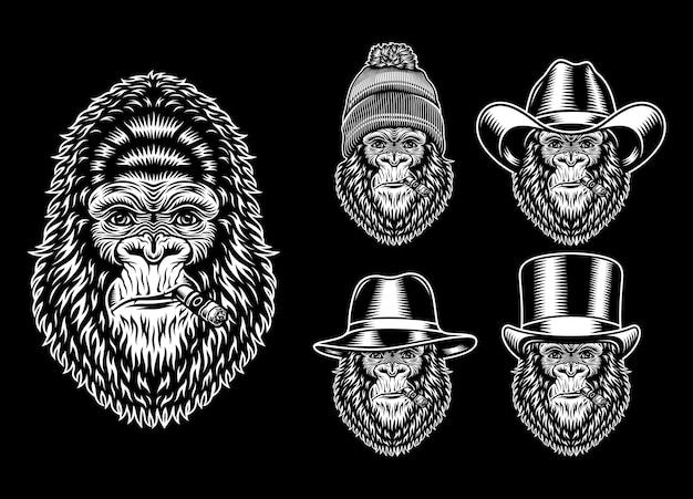 Coleção de caracteres de fumar gorila