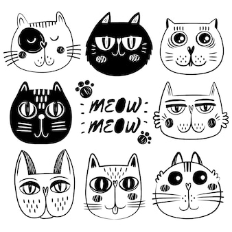 Coleção de caras de gato