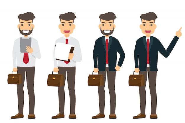 Coleção de caráter empresário feliz e trabalhando isolado. personagem de negócios bem sucedido dos desenhos animados.