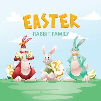 Coleção de caráter familiar de coelho de dia de páscoa
